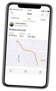 Image of phone showing route from Reading station to town hall